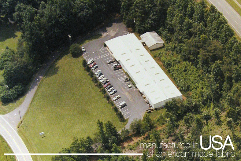Aerial photo of the Condar plant with text reading manufactured in USA of american made fabric.