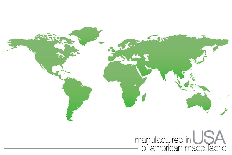 Simple graphic representation of the surface of the earthwith text reading manufactured in USA of american made fabric.